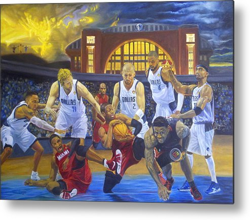Mavs Metal Print featuring the painting Mavericks Defeat The King And His Court by Luis Antonio Vargas