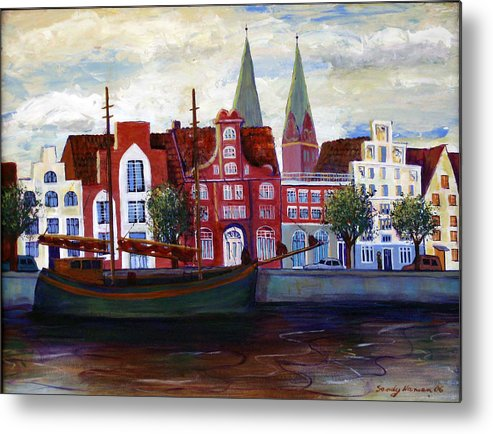 Lubeck Metal Print featuring the painting Medieval Town In Lubeck Germany by Art Nomad Sandra Hansen
