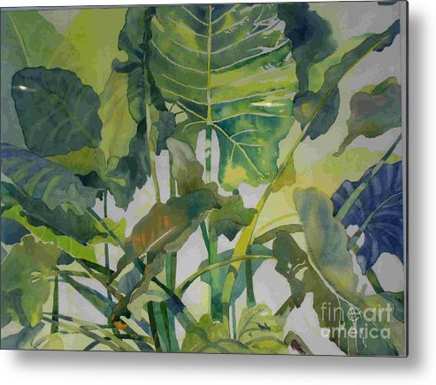 Green Metal Print featuring the painting Mess Of Greens by Elizabeth Carr