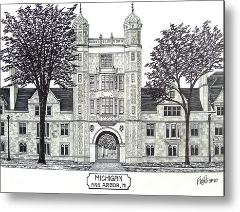Pen And Ink Drawings Metal Print featuring the drawing Michigan by Frederic Kohli