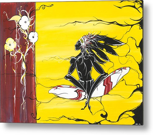 Native Metal Print featuring the painting Misunderstood by Dallas Poundmaker