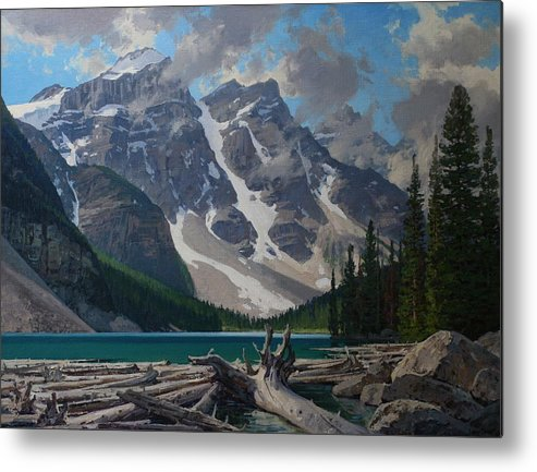 Landscape Metal Print featuring the painting Moraine Lake by Lanny Grant