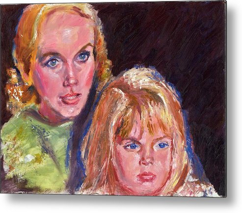 Oil Metal Print featuring the painting Mother And Child by Horacio Prada
