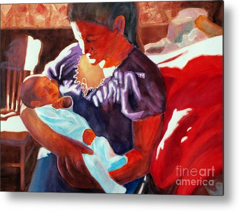 Paintings Metal Print featuring the painting Mother And Newborn Child by Kathy Braud