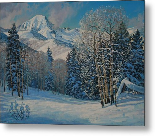 Landscape Metal Print featuring the painting Mt. Daly by Lanny Grant