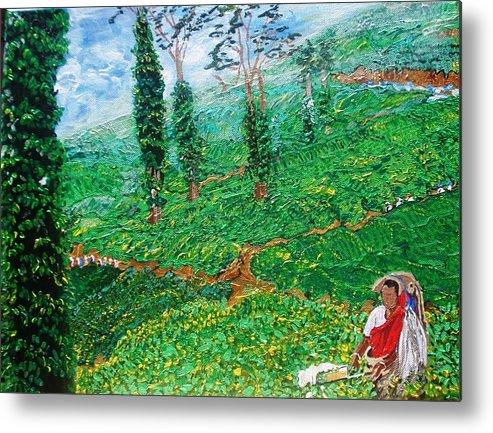 Tea Metal Print featuring the painting Munnar Tea Gardens by Narayan Iyer