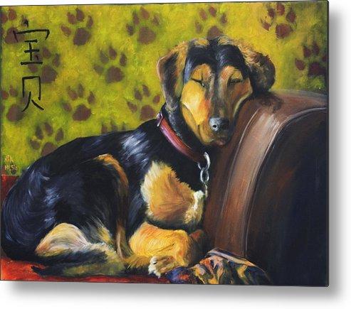 Dog Metal Print featuring the painting Murphy Vi Sleeping by Nik Helbig