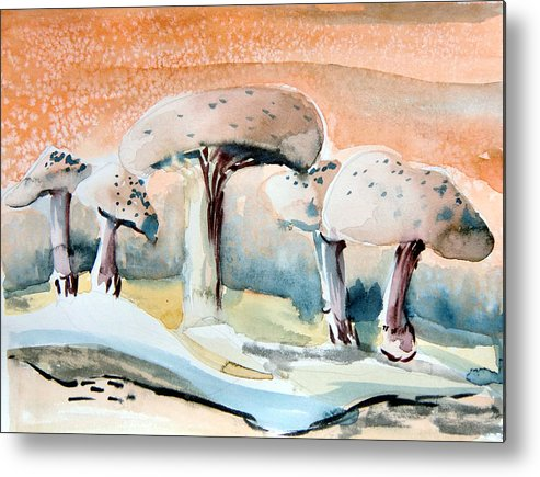 Mushrooms Metal Print featuring the painting Mushroom Heaven by Mindy Newman