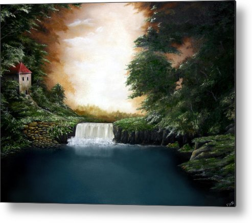 Falls Metal Print featuring the painting Mystical Falls by Ruben Flanagan