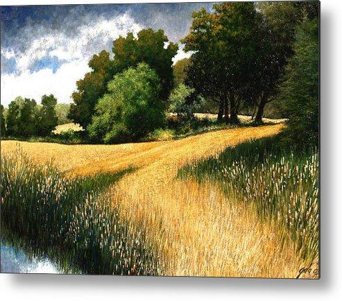 Landscape Metal Print featuring the painting Nature Walk Ridgefield Washington by Jim Gola