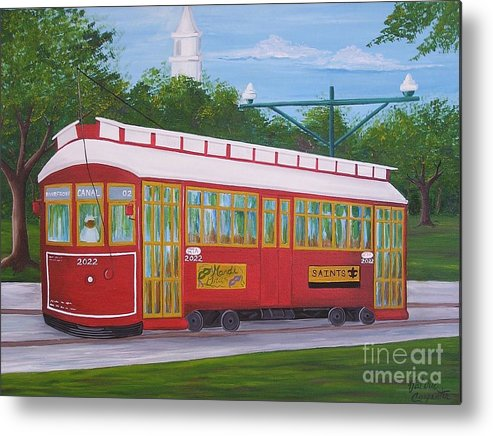New Orleans Metal Print featuring the painting New Orleans Streetcar by Valerie Carpenter