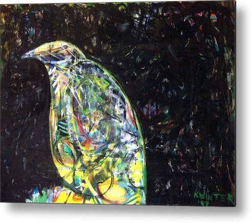 Bird Night Metal Print featuring the mixed media Night Bird by Dave Kwinter