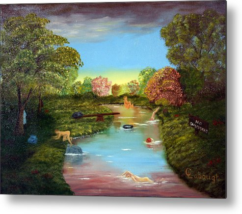 Oil Metal Print featuring the painting No Swimming by Arno Clabaugh
