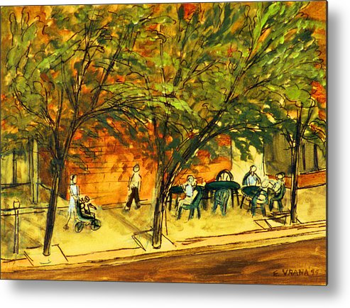 North Aurora Street Metal Print featuring the painting North Aurora Street Ithaca New York by Ethel Vrana