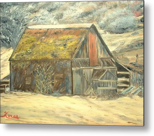 Barn Landscape Old Metal Print featuring the painting Old Barn Mossey Roof by Kenneth LePoidevin