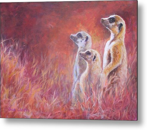 Meerkats Metal Print featuring the painting On Alert by Sue Linton