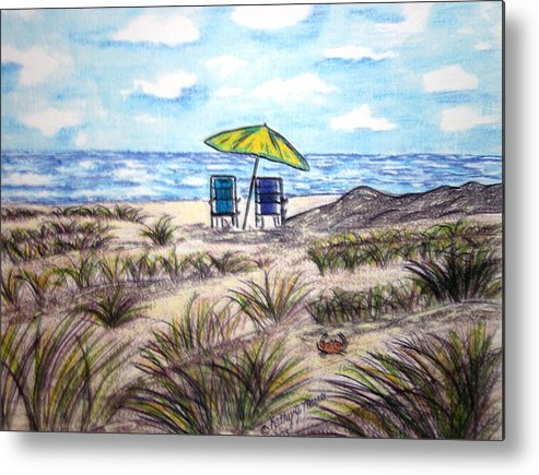 Beach Metal Print featuring the painting On The Beach by Kathy Marrs Chandler