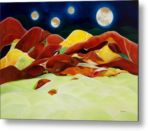 Oil Metal Print featuring the painting One Step Up From Third by Peggy Guichu