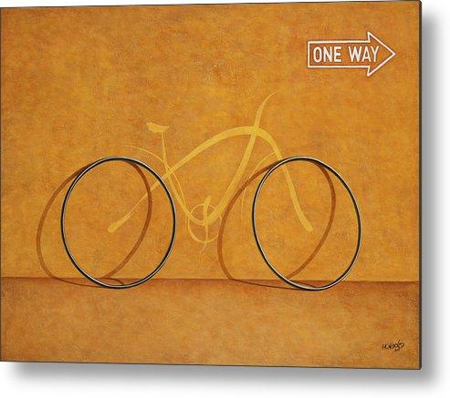 Bike Metal Print featuring the painting One Way by Horacio Cardozo