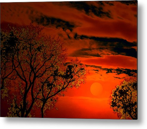 Night Metal Print featuring the digital art Orange Eventide by Bliss Of Art