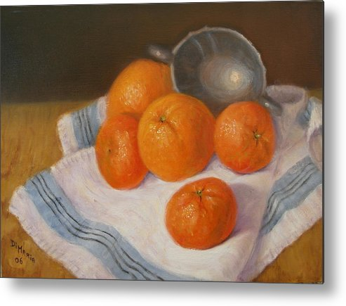 Realism Metal Print featuring the painting Oranges And Tangerines by Donelli DiMaria