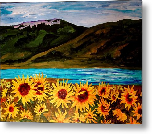 Florals Metal Print featuring the painting Out My Window In My Dreams by Katherine McDermott