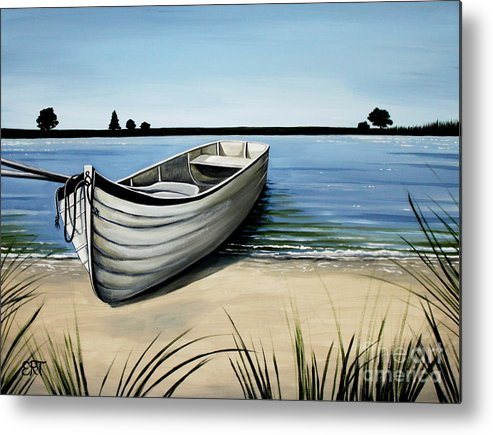 Boat Metal Print featuring the painting Out On The Water by Elizabeth Robinette Tyndall