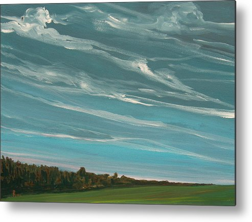 Landscape Metal Print featuring the painting Over The Fields by Pete Maier