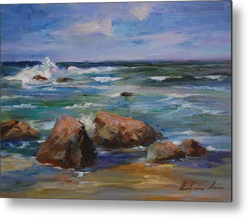 Seascape Metal Print featuring the painting Pacific Ocean by Kelvin Lei