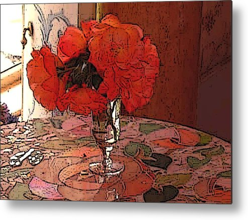 Floral Metal Print featuring the photograph Pansies And Mosian Table by Susan Grissom
