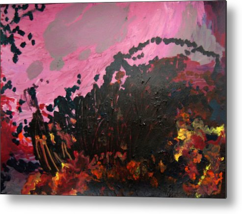 Abstract Metal Print featuring the painting Pink Bliss by Kitty Hansen