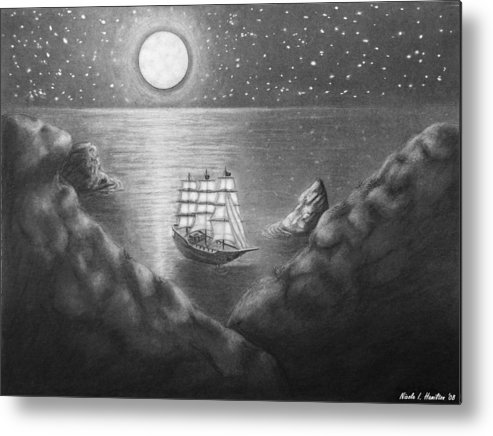 Ship Metal Print featuring the drawing Pirates' Cove by Nicole I Hamilton