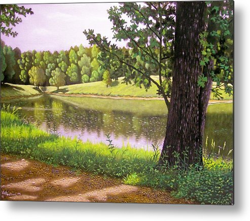 Landscapes Metal Print featuring the painting Place For The Heart by Larry Hoskins
