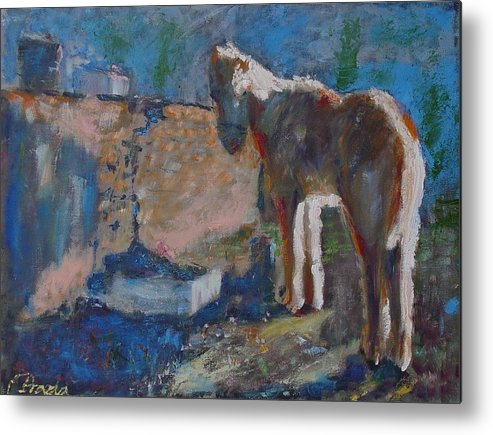 Oil Metal Print featuring the painting Pony by Horacio Prada