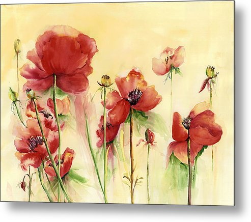 Flowers Metal Print featuring the painting Poppies On Parade by Priscilla Powers