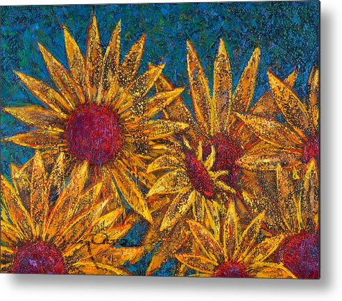 Flowers Metal Print featuring the painting Positivity by Oscar Ortiz