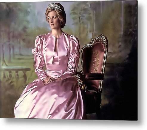 Metal Print featuring the painting Princess Diana by Alex Zolotar