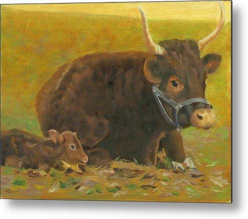 Cow Calf Bull Farmscene Metal Print featuring the painting Proud Pappa by Paula Emery