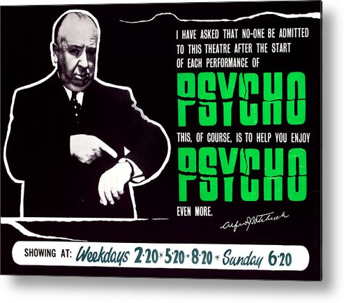 1960 Movies Metal Print featuring the photograph Psycho, Director Alfred Hitchcock by Everett