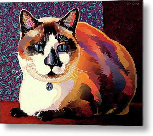 Cat Paintings Metal Print featuring the painting Puddin by Bob Coonts