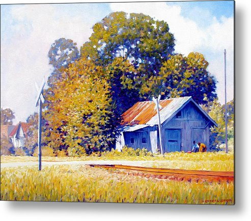 Railroad Track Metal Print featuring the painting Railroad Crossing by Kevin Lawrence Leveque