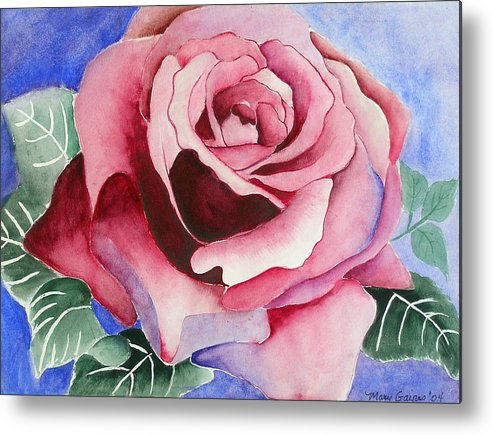 Pink Rose Metal Print featuring the painting Ramblin' Rose by Mary Gaines