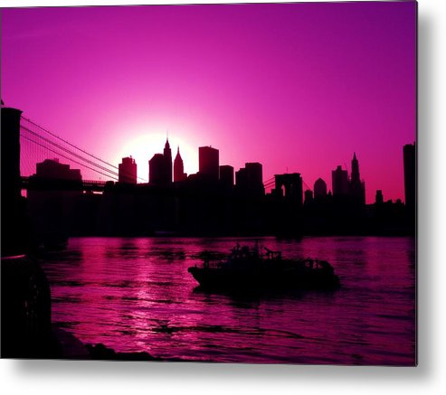 Brooklyn-bridge Metal Print featuring the photograph Raspberry Ice In Silhouette by Kendall Eutemey
