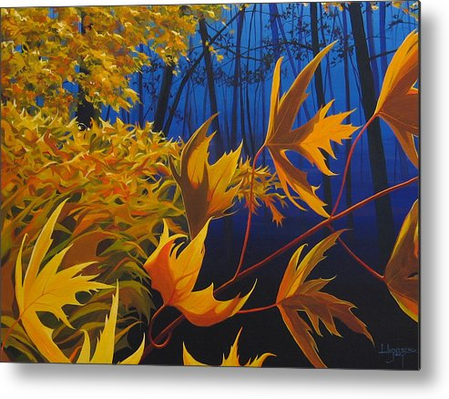 Autumn Leaves Metal Print featuring the painting Raucous October by Hunter Jay