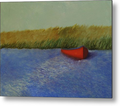 Oil Metal Print featuring the painting Red Boat - Plum Island Basin by Rf Hauver