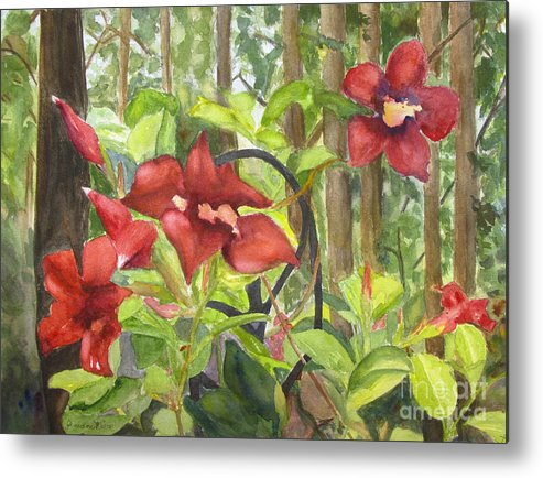 Red Flowers Metal Print featuring the painting Red Flowers On The Deck by Jeneane Mixon