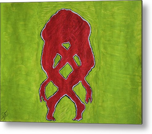 Red Nude Yoga Girl Metal Print featuring the painting Nude Yoga Girl Red by Stormm Bradshaw