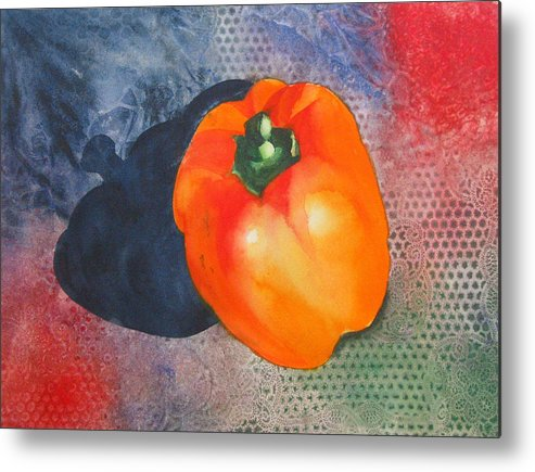 Pepper Metal Print featuring the painting Red Pepper Solo by Jean Blackmer