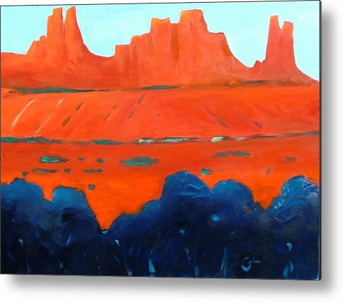 Landscape Metal Print featuring the painting Red Sedona by Gary Coleman