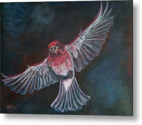 Acrylic Metal Print featuring the painting Redbird by Sylvia Stone